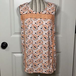 Market & Spruce Yawna Crochet Detail Top, XXL
